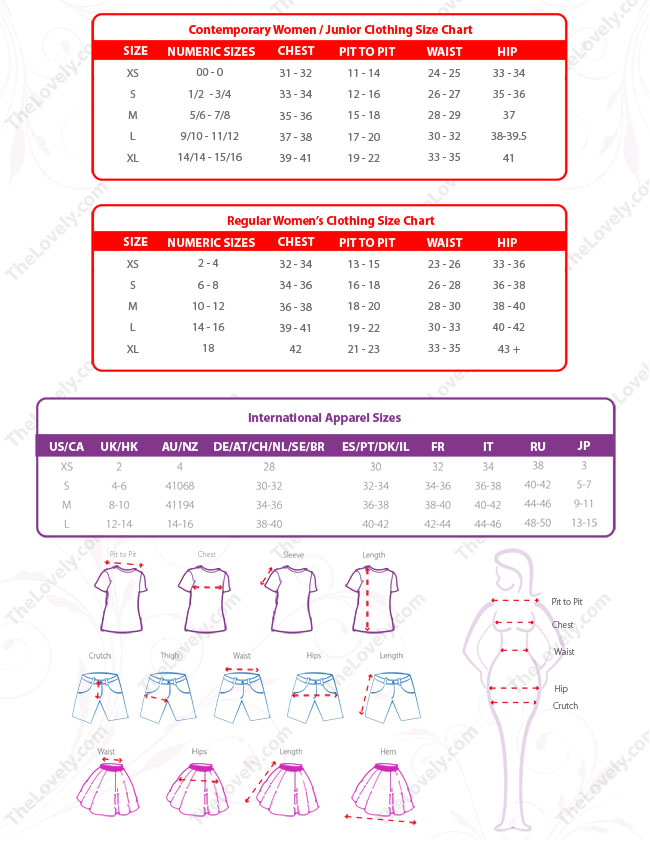 Women and Junior Size Chart